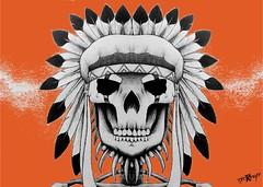Dessin Crane Indien (The R Graff) Tags: orange photoshop noir crane mort creation sombre crayon indien couleur bic plume stylo promarker thergraff