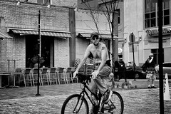 The Valet (Rich McPeek) Tags: street people blackandwhite bw bicycle canon cycling pittsburgh streetphotography sigma topless marketsquare valet steelcity bwstreet streetbw pittsburghstreet canon7d bwstreetphoto pittsburghphotography streettogs