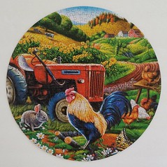 ON THE FARM (pattakins) Tags: tractor rabbit chickens animals farmhouse butterfly colorful farm puzzle daisy fields rooster jigsawpuzzle 350piece 14inchdiameter