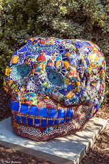 Skull (Thad Zajdowicz) Tags: california blue sculpture color detail art glass digital canon mouth tile outside eos skull eyes colorful outdoor availablelight mosaic teeth human diademuertos 5d publicart dslr arcadia lightroom markiii losangelescountyarboretum zajdowicz