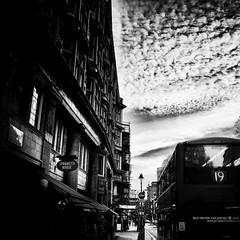 sky (s_inagaki) Tags: street sky blackandwhite bw house bus london monochrome buildings spagetti