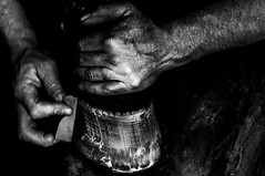 The Forger (jeanmarie shelton) Tags: blackandwhite bw horse work hands gritty horseshoe forge jeanmarie forger jeanmarieshelton