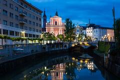 A classic scene of Ljubljana - Franciscnan Church of the Annunciation (Christine's Observations) Tags: classic church beautiful night reflections photography phillips scene slovenia ljubljana annunciation chritine a franciscnan