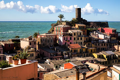 Vernazza Watchtower (cheryl strahl) Tags: italy tower castle colorful europe village medieval cinqueterre hillside vernazza quaint italianriveria castellodoria