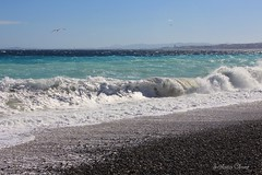 The Mediterranean coast of France. (Svitlana Clover) Tags: blue sea sky white black france beach water airplane nice waves seagull pebbles journey foam gravel canoneos550d