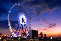 Bangkok Eye (akimesto) Tags: life street city travel bridge blue light sunset red sky urban panorama cloud sun colour building beautiful wheel skyline architecture night clouds zeiss skyscraper photoshop wow landscape thailand landscapes twilight eyes highway colorful asia long exposure flickr cityscape nightscape cloudy outdoor dusk bangkok sony air horizon wide culture landmark ferris structure highrise infrastructure land expressway a7 cloudscape attraction skycraper headquarter lightroom asiatique mekhong
