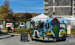 Looks Like Lunch Time (Jocey K) Tags: trees newzealand christchurch sky people signs architecture buildings artwork chairs may cranes tables van thecommons foodvan carvan