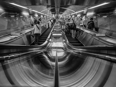 53 seconds (marco ferrarin) Tags: station japan underground tokyo metro escalator perspective  akihabara ochanomizu movingstaircase