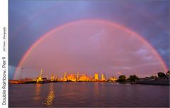 Double Rainbow, Pier 9 (jwvraets) Tags: rainbow doublerainbow sunset goldenhour rain harbour pier9 hamilton burlingtonbay tugboats destroyer hmcshaida opensource rawtherapee gimp nikon d7100 nikor1224mm