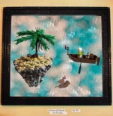 I Dream Of Islands In The Sky... (BrickCurve) Tags: sky tree rock stone composition painting island monkey islands boat flying rocks ship lego floating palmtree frame goh moc kaliphlin