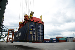Nearly landed (DST_1746) (larry_antwerp) Tags: 9210086 celinastar cmacgm psaterminal container antwerp antwerpen       port        belgium belgi          schip ship vessel