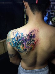 watercolour (ktattoo2711) Tags: art animal tattoo watercolor sketch wolf artist vietnamese drawing sketching indoor tattoos vietnam draw saigon linework tattooist si gn dotwork watercolortattoo saigonese smalltattoo xm