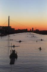 Dawn of boat course (huzu1959) Tags: film water japan sunrise canon velvia saitama fd toda canonf1 boatcourse newfd85mmf12l