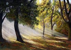 HOTHAM PARK AUTUMN (KING JOHN 1) Tags: park autumn sunlight pastel autumncolours jak contrejour sunbeams johnking hotham pastelpainting