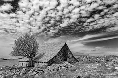 On the Way of St James (Toucaly) Tags: summer sky white black france nature field rock barn landscape countryside blackwhite divers europe noir cloudy sunny ciel paysage campaign campagne blanc grange rocher champ noirblanc aveyron aubrac nuageux midipyrnes et ensoleill 500px appentis ifttt