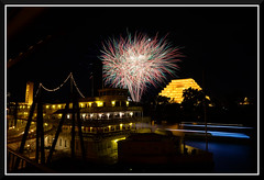Fireworks_3815 (bjarne.winkler) Tags: from ca bridge cats moon game building tower home river with fireworks side delta queen east sacramento behind lunar ziggurat the