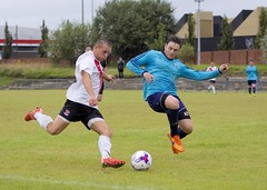 The flying block tackle comes in as Mark Burbidge pulls the trigger (Stevie Doogan) Tags: clydebank glasgow perthshire exsel group sectional league cup wednesday 10th august 2016 holm park