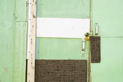 Garage Door Assemblage (designwallah) Tags: wood toronto ontario canada green urbanexploration laneways alleys garages garagedoors ruelles olympusm60mmf28macro