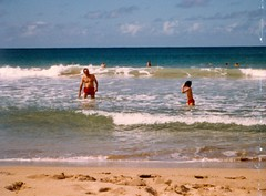 Dad and Bert at in the Water - c1983 (kimstrezz) Tags: 1983 familytriptohawaiic1983 hanaleibay kauai bert dad dadandbert