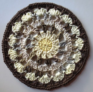 Brown Crocheted Mandala Dishcloth