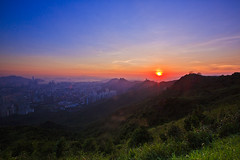 Sunset at Kowloon Peak (briantang0703) Tags: sunset hongkong mountain building art architecture sun red blue city landscape markiii 5d 1635mm grass magic color night light exposure canon cloud sky outdoor