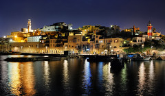 Old Jaffa (DILLEmma Photography) Tags: oldjaffa telaviv israel reflections sky longexposure nightlights lighthouse water marina bay ships promenade walk nightshot waterfront