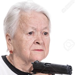 Old woman with pistol (locomoco1313) Tags: gun woman pistol people person human shoulders hands 80 years widow arms adult head solitude disease weapon one caucasian gray female injury portrait depression guilt retirement age face tired senior memories mature loneliness grandmother worried indoors sadness healthcare serious