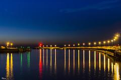 _DSC4228-n (fototaza) Tags: night light nice water colour breakwater blue sky reflection port entrance koobrzeg noc polska poland