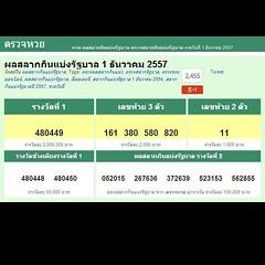 ผลสลากกินแบ่งรัฐบาล  1 ธันวาคม 2557  รางวัลที่ 1 480449  เลขท้าย 3 ตัว 161 380 580 820  เลขท้าย 2 ตัว 11  http://lotto.mthai.com/