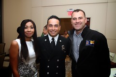 Syeda Jafri, City Riverside Fire Capt. David Hernandez and Mayor of Riverside Rusty Bailey