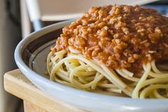 Spaghetti and TVP (Reg|Photography4Lyfe) Tags: food macro dinner lunch photography dish pasta foodporn vegetarian spaghetti zuiko tvp 2014 marinara texturedvegetableprotein 1442mm dslre410
