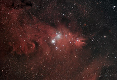 A Festive Cone Nebula - December 2014 (BudgetAstro) Tags: canon astrophotography astronomy dss ed80 monoceros ngc2264 conenebula christmastreecluster deepskystacker eos500d