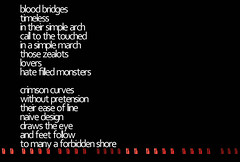 Blood Bridges (Drew Daves) Tags: bridge red black love crimson writing typography blood poetry poem text religion madness collab hate write written collaboration handdrawn selfpublishing verse freewrite