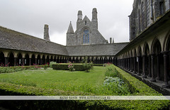 Mont St Michel Cloister, France (Naomi Rahim (thanks for 2 million hits)) Tags: travel france green heritage church floral abbey architecture garden religious nikon europa europe catholic gothic columns medieval historic norman unesco monastery normandie cloister normandy carvings petite montstmichel montsaintmichel abbaye travelphotography normande jardan nikond7000 naomirahim