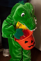 Alligator with a Bucket 1 (LongInt57) Tags: blue red people orange woman white canada black green halloween boys yellow children person costume bucket women bc candy adult jackolantern trickortreat okanagan pail alligators kelowa