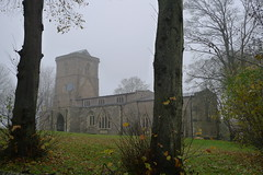Bledlow Church on a Cloudy Morning (cycle.nut66) Tags: leica autumn trees winter building church leaves stone lumix early chilterns hills panasonic summicron late trunks chiltern bledlow lx3