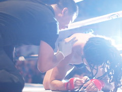 Down and Out (HeyItsWilliam) Tags: asian fight asia southeastasia fighter yangon burma martialarts olympus ring mat myanmar boxing fighters fighting burmese kickboxing rangoon mma lethwei letway
