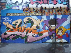 Shine & Quest graffiti, Southbank (duncan) Tags: graffiti shine southbank quest dennisthemenace gnasher