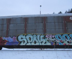 SPOK (YardJock) Tags: railroad snow cold ice outdoors graffiti tracks rolling freighttrain autorack spok benching paintedsteel benchreport