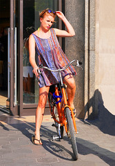 A nice dress for the bike (chrisk8800) Tags: barcelona life street city portrait people urban woman sexy girl face sunglasses fashion bike bicycle female lumix photography spain model pretty dress legs sandals candid gorgeous young streetphotography mini stranger catalonia sensual redhead panasonic portraiture attractive g6 redhair minidress sensuous