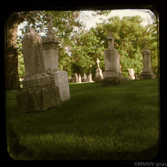 Walk through the Graveyard (Just Add Light) Tags: sun history tlr cemetery graveyard wisconsin kodak archive statues graves historic milwaukee limestone through anscoflex viewfinder calvary ttv