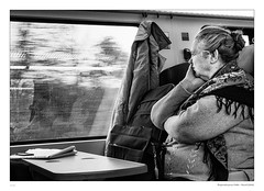 Where will the journey end? (sdc_foto) Tags: blackandwhite bw woman window train railway dreaming journey contemplative 2014 canong1x sdcfoto