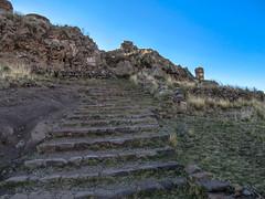 Stairs to the burial ground (kasiahalka (Kasia Halka)) Tags: road peru southamerica sillustani puno lakeumayo chullpas preincanburialground