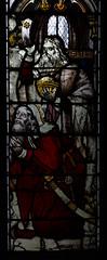 Shrewsbury, Shropshire, St. Mary the Virgin, south aisle, stained glass window, adoration of the magi, detail (groenling) Tags: uk greatbritain england window king shropshire britain south jesus birth stainedglass shrewsbury aisle gift gb nativity magi cct stmarythevirgin munsterbilzen