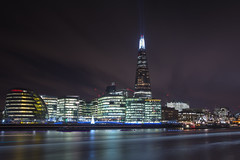 High Above (Northernly Exposure) Tags: uk sky london water glass metal night concrete lights high still unitedkingdom southbank thethames mayorsoffice beaminglight theshard