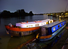 The Thames at Hammersmith, England, UK (Beardy Vulcan) Tags: november autumn england london fall water thames night river boat nocturnal hammersmith riverthames barge watercraft narrowboat 2014 avontuur thamesvalley