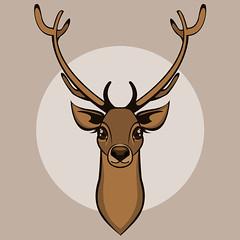 Deer head isolated. Vector illustration (andreevamusya) Tags: winter nature animal reindeer artwork colorful head cartoon deer vector isolated