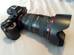 New toy...Sony a7 w/ adapter and Canon 17-40mm L lens attached. This is going to be fun! (Daniel Portalatin Photography) Tags: canon landscape fun photography technology sony fullframe innovation a7 mirrorless