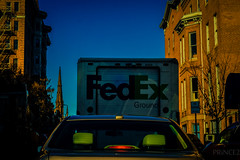 fed.ex (RoyalVisions) Tags: road blue sky urban brown signs color detail tree brick church colors car stairs digital truck lens photography 50mm prime gold photo aperture nikon automobile flickr escape traffic prince baltimore steeple sharp iso shutter learning nikkor dslr noise fedex length vignette focal d90 d5300