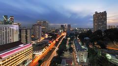 Chinatown Glow (Mabmy) Tags: longexposure sunset panorama architecture buildings lumix singapore chinatown cityscape olympus ultrawide em1 7mm manualblending